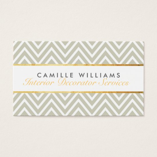 ELEGANT stylish gold strip chevron pattern taupe Business Card