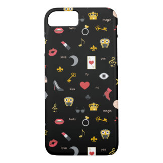 elegant stylish kisses, lips, hearts, owls, notes iPhone 8/7 case