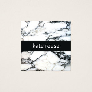Elegant Stylish Marble Black and White Marble Square Business Card