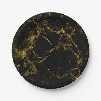 elegant stylish modern chic black and gold marble paper plate