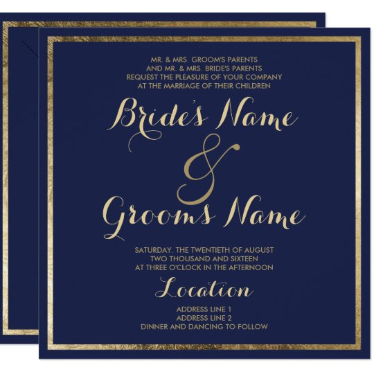 Elegant stylish modern navy blue faux gold Wedding