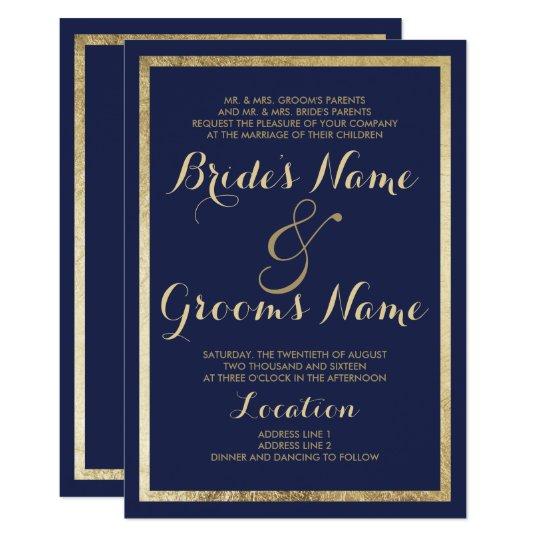 Elegant stylish modern navy blue faux gold Wedding
