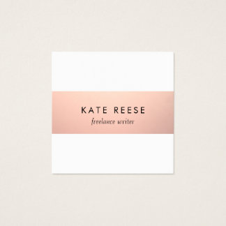 Elegant Stylish Modern Rose Gold Stripe Square Business Card