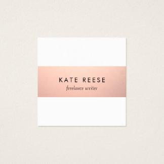 Elegant Stylish Modern Rose Gold Stripe Square Business Card