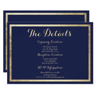 Elegant stylish navy blue faux gold Details Card