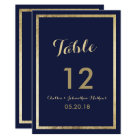 Elegant stylish navy blue faux gold Table Number