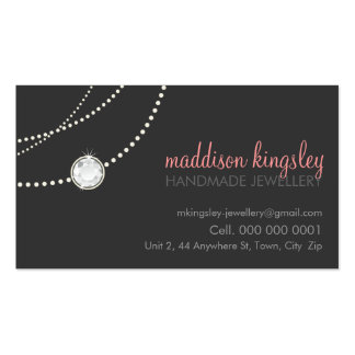 elegant stylish necklace solitaire grey coral pink business cards