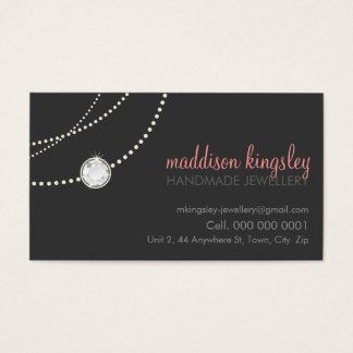 elegant stylish necklace solitaire grey coral pink business card