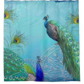Elegant Stylish Peacocks n Feathers Shower Decor Shower Curtain