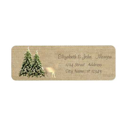 Elegant,Stylish Pine Trees,Christmas Reindeer Return Address Label