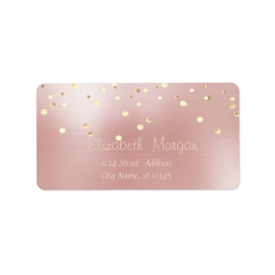 Elegant  Stylish ,Pink ,Fux Gold Foil Confetti Address Label