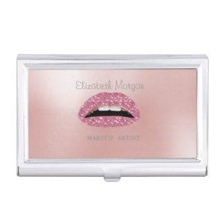 Elegant Stylish - Pink- Glittery Lips-Personalized Business Card Holder