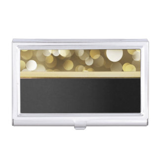 Elegant Stylish Proffesional- Black,Gold ,Bokeh Business Card Holder