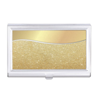 Elegant Stylish Proffesional- Faux Gold-Glittery Business Card Holder
