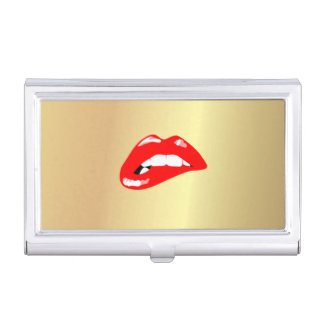 Elegant Stylish Proffesional Faux Gold-Red Lips Business Card Holder