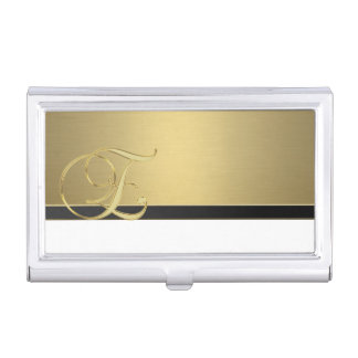 Elegant Stylish Proffesional- Gold-Monogram Business Card Holder