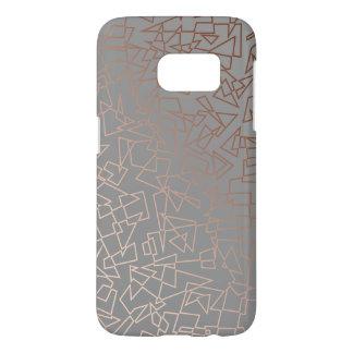 Elegant stylish rose gold geometric pattern grey