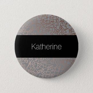 Elegant stylish rose gold geometric pattern grey 6 cm round badge