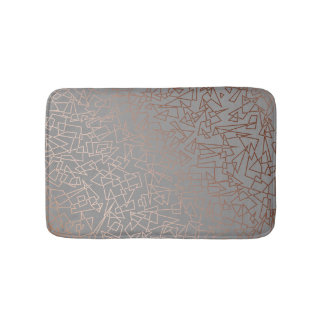 Elegant stylish rose gold geometric pattern grey bath mat