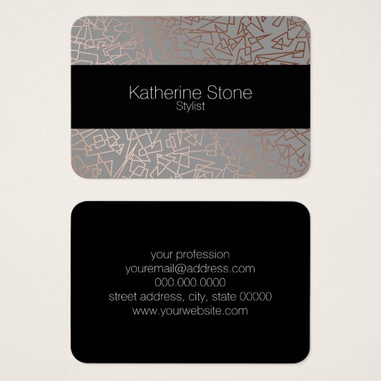 Elegant stylish rose gold geometric pattern grey business