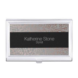 Elegant stylish rose gold geometric pattern grey business card holder