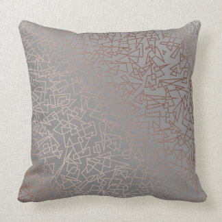Elegant stylish rose gold geometric pattern grey cushion