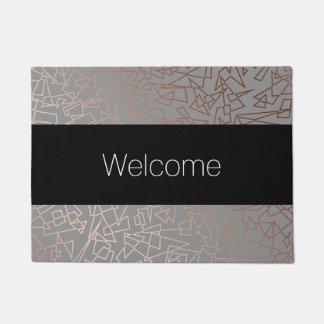 Elegant stylish rose gold geometric pattern grey doormat