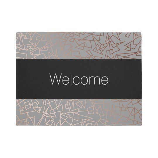 Elegant stylish rose gold geometric pattern grey doormat