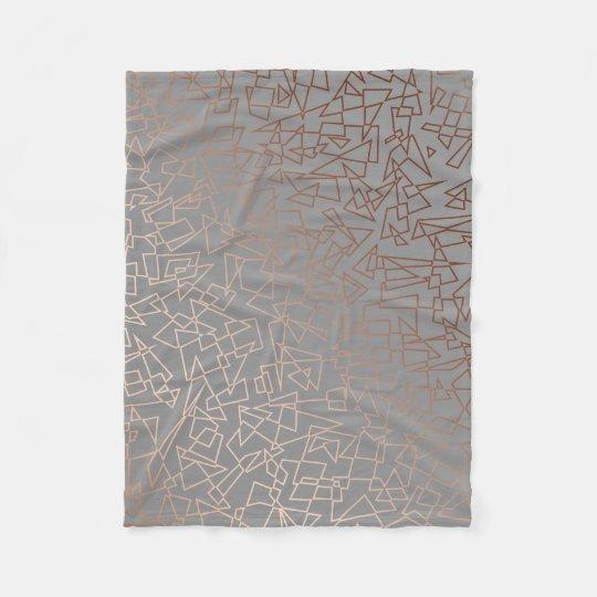 Elegant stylish rose gold geometric pattern grey fleece