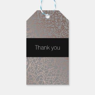 Elegant stylish rose gold geometric pattern grey gift tags