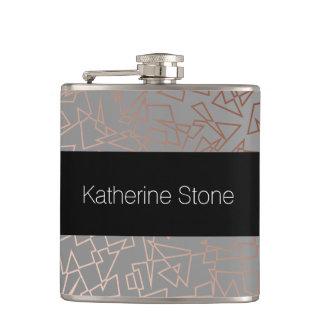 Elegant stylish rose gold geometric pattern grey hip flask