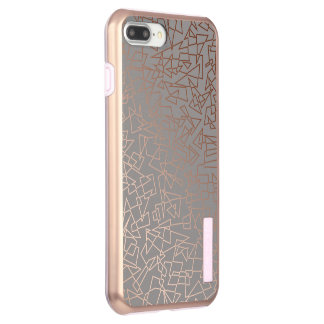 Elegant stylish rose gold geometric pattern grey incipio DualPro shine iPhone 8 plus/7 plus case