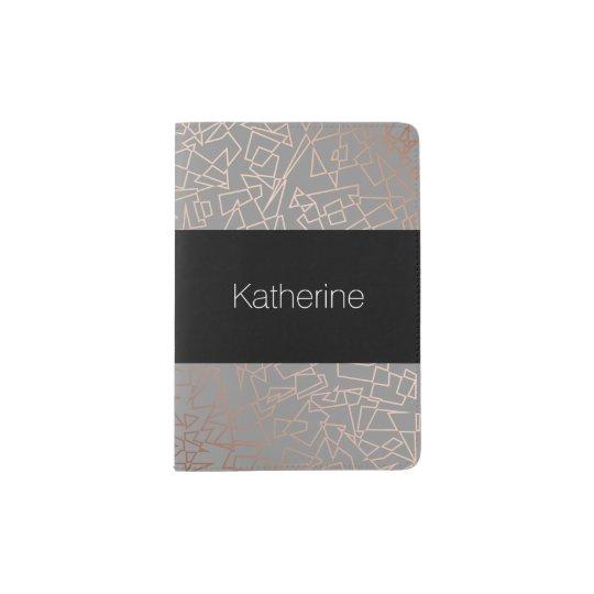 Elegant stylish rose gold geometric pattern grey passport