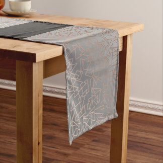 Elegant stylish rose gold geometric pattern grey short table runner