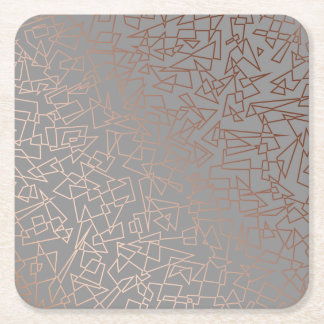 Elegant stylish rose gold geometric pattern grey square paper coaster
