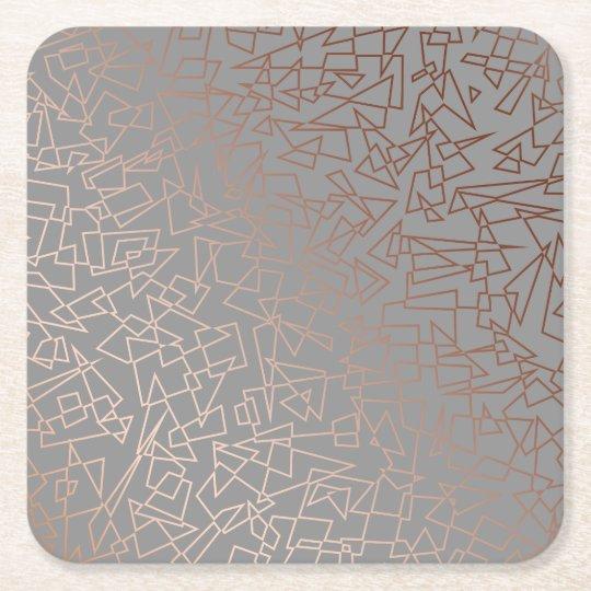 Elegant stylish rose gold geometric pattern grey square