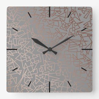 Elegant stylish rose gold geometric pattern grey square wall clock