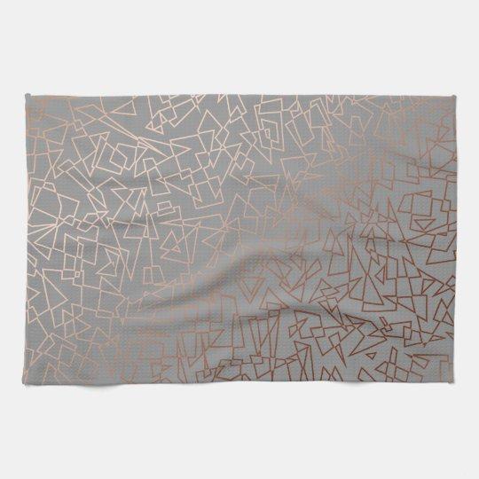 Elegant stylish rose gold geometric pattern grey tea
