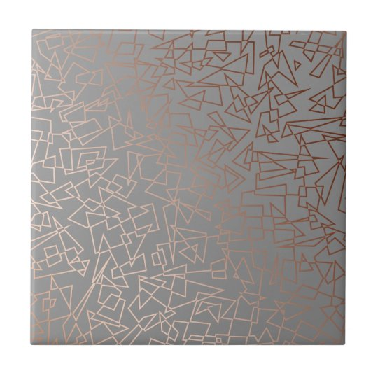 Elegant stylish rose gold geometric pattern grey tile
