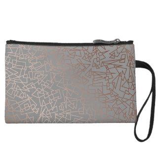 Elegant stylish rose gold geometric pattern grey wristlet purse