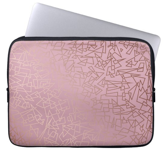 Elegant stylish rose gold geometric pattern pink laptop