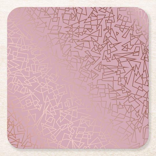 Elegant stylish rose gold geometric pattern pink square