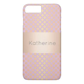 Elegant stylish rose gold polka dots pattern pink iPhone 8 plus/7 plus case