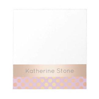 Elegant stylish rose gold polka dots pattern pink notepad