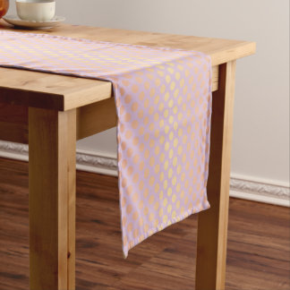 Elegant stylish rose gold polka dots pattern pink short table runner