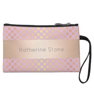 Elegant stylish rose gold polka dots pattern pink wristlet