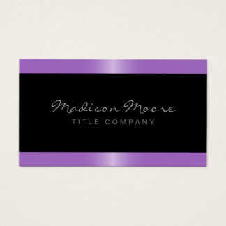 Elegant stylish satin lavender purple border black business card