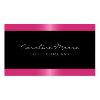 Elegant stylish satin rose pink border black pack of standard business cards