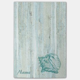Elegant stylish seashell wood texture personalized post-it® notes