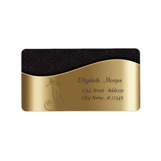 Elegant Stylish Shiny,Faux Gold ,Black Damask,Cat Label